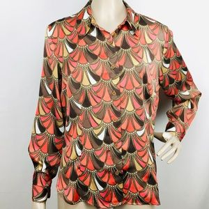 VTG Appleseed's Shell Print Button-Down Blouse